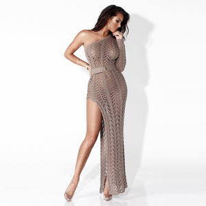 Sexy High Slit Knit Openwork Maxi Dress