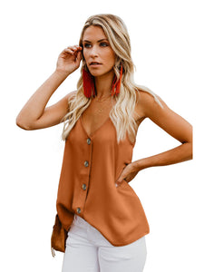 Button Down V Neck Strappy Loose Casual Sleeveless Shirts Blouses