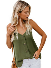 Load image into Gallery viewer, Button Down V Neck Strappy Loose Casual Sleeveless Shirts Blouses