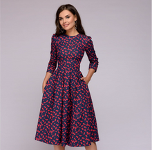 Load image into Gallery viewer, Women A-line Dress Vintage Printing Party Three Quarter Sleeve Women Spring Dress