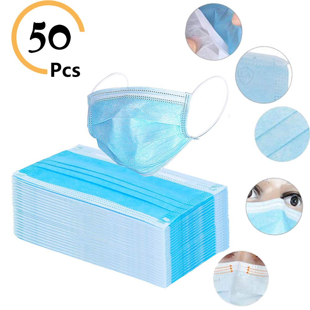 Disposable Face Masks with Comfortable Elastic Ear Loop, 3 Ply Masks Breathable Anti Dust Disposable Face Mask Unisex Mouth Face Mask