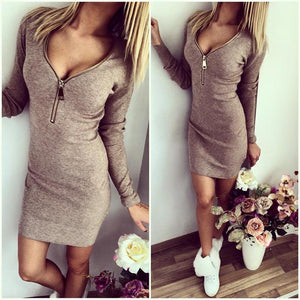 COTTON KNITTED SEXY LONG SLEEVE CASUAL METAL ZIPPER MINI PARTY DRESS