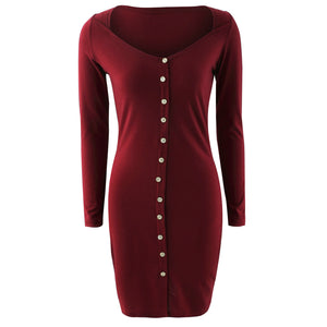 LONG SLEEVE COTTON KNITTED BODYCON KNEE LENGTH PARTY DRESS