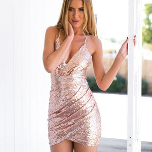 Sequins Deep V-neck Spaghetti Straps Short Bodycon Dress