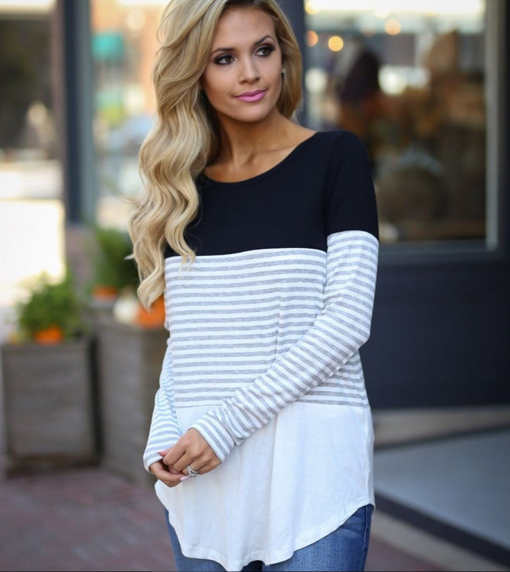 All Day Everyday Top , LONG SLEEVE TOP - BLACK