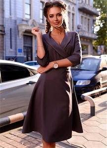 HIGH QUALITY POLYESTER KNEE LENGTH HALF SLEEVE DRESS BEST FOR CASUAL OFFICE AND PROM