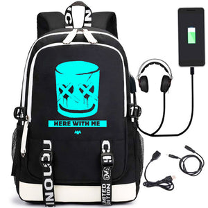 DJ Laptop Backpack, Wisfruit Lightweight College School Bookbag with USB Charging Port for Teens