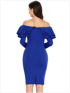 Long Sleeved Solid Color Strapless Dress