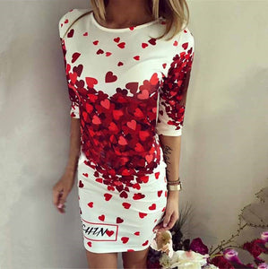 Sexy Cotton Hearts Printed Evening Club Party Office Prom Mid Sleeve Kneeve Length Dress