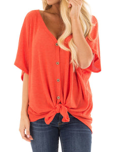 Womens Loose Blouse Short Sleeve V Neck T Shirts Casual Tops