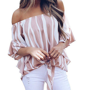Women's Striped Off Shoulder Bell Sleeve Shirt Tie Knot Casual Blouses Tops