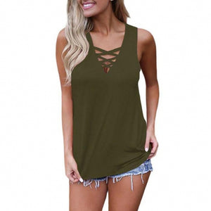 Summer Sleeveless Criss Cross Casual Tank Tops Basic Lace up Blouse