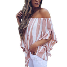 Load image into Gallery viewer, Women's Striped Off Shoulder Bell Sleeve Shirt Tie Knot Casual Blouses Tops