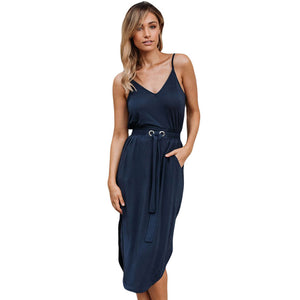 V-neck Sleeveless Dress