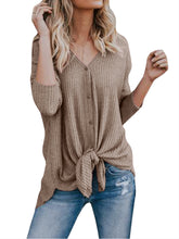 Load image into Gallery viewer, Waffle Knit Tunic Henley Tops