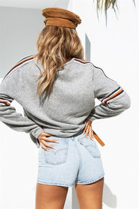 WAMEN FLAG STRIPE GRAY PULLOVER