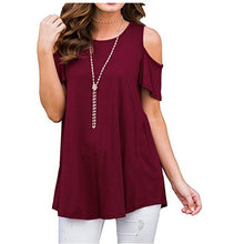 Load image into Gallery viewer, Women's Short Sleeve Casual Cold Shoulder Tunic Tops Loose Blouse Shirts