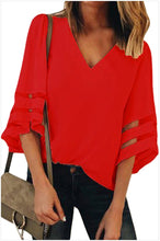 Load image into Gallery viewer, Women's V Neck Mesh Panel Blouse 3/4 Bell Sleeve Loose Top Shirt