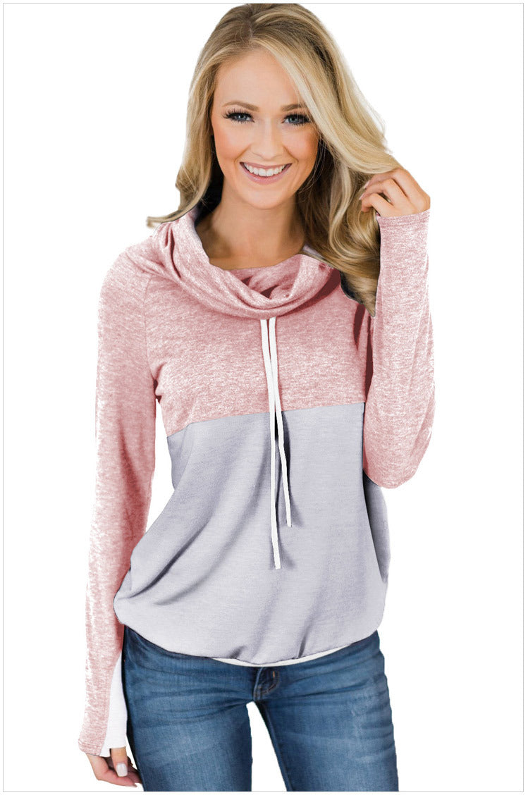 Cowl Neck Striped Tunic Sweatshirt Drawstring Pullover Tops