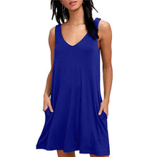 Load image into Gallery viewer, Summer Dresses Beach Cover up Plain Pleated Tank Dress