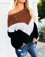 Load image into Gallery viewer, Stitching Color Loose Knitted Sweaters