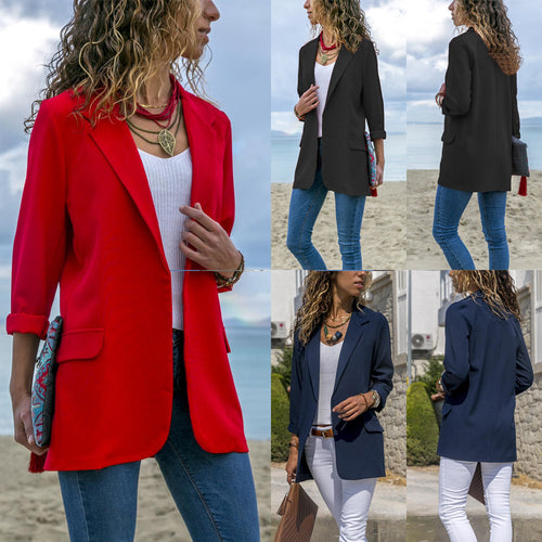 Candy Color Pockets Lapel Slim Women Blazer