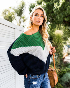 Stitching Color Loose Knitted Sweaters