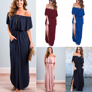 Womens Off The Shoulder Maxi Dress,Ruffle Party Dresses