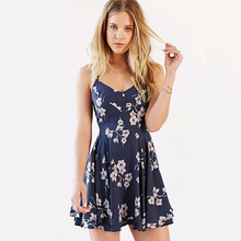 Load image into Gallery viewer, Women's Stylish Spaghetti Strap Backless Cut Out Print Dress shoestory.club
