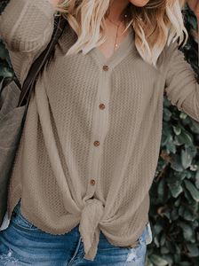 Waffle Knit Tunic Henley Tops