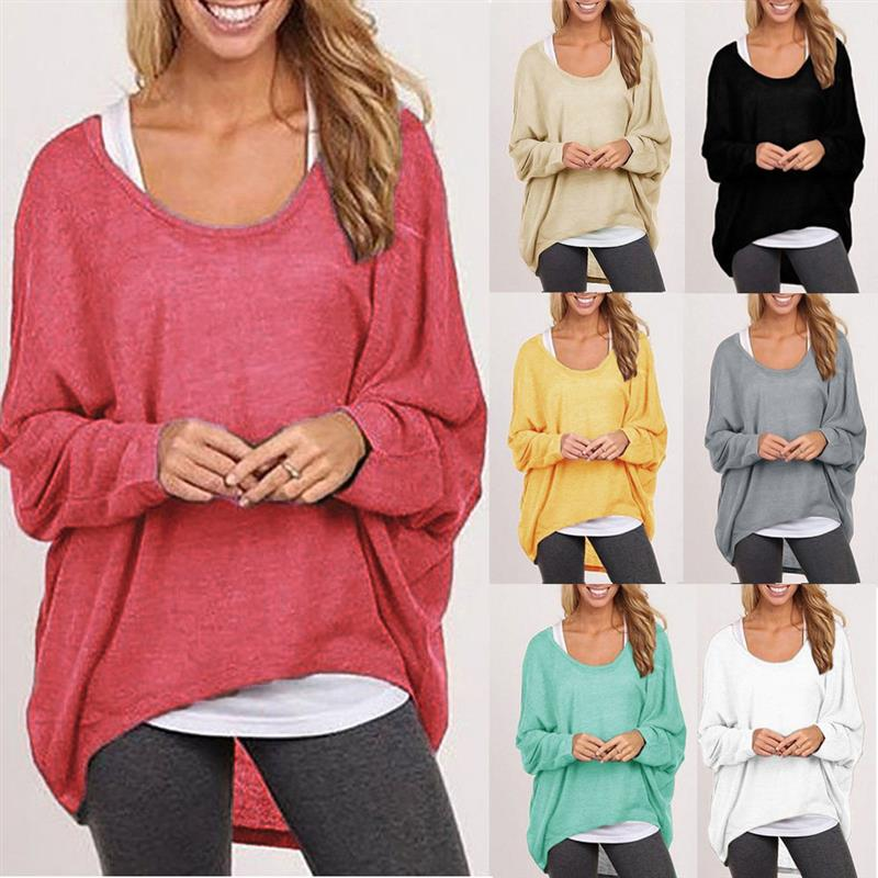 Casual Sweater Off-Shoulder Shirts Batwing Sleeve Pullover Shirts Tops