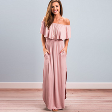 Load image into Gallery viewer, Womens Off The Shoulder Maxi Dress,Ruffle Party Dresses
