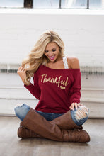"Load image into Gallery viewer, ''Thankful"" Sweatshirt ,Red"