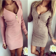 Load image into Gallery viewer, COTTON KNITTED SEXY LONG SLEEVE CASUAL METAL ZIPPER MINI PARTY DRESS