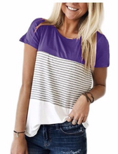 Load image into Gallery viewer, Short Sleeve Round Neck Triple Color Block Stripe T-Shirt Casual Blouse
