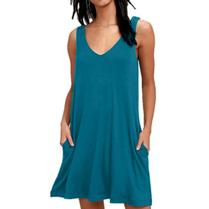 Summer Dresses Beach Cover up Plain Pleated Tank Dress