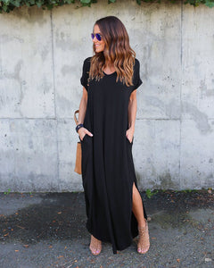 Maxi Dresses,  Long Dress Short Sleeve Split Casual Loose
