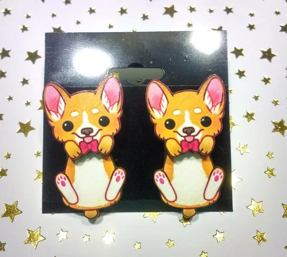 #kawaiifinds #cutefinds #corgi #puppy #dog #jewelry #fashionblog #kickingshoes #earrings #accessories #under25 #wood #woodenjewelry