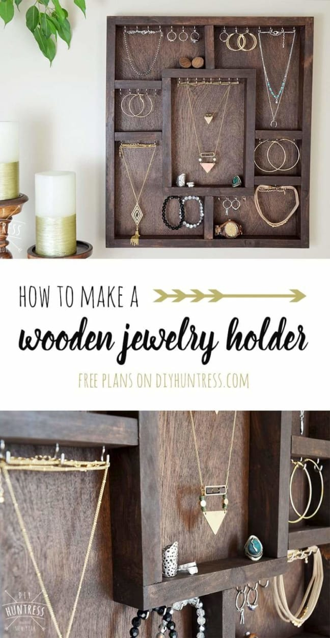 Learn how to build a wooden jewelry holder! #diy #woodworking #woodwork #design #wood