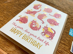 9 Lives Birthday Greeting Card