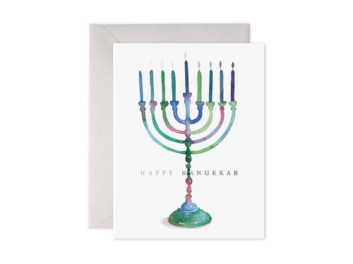 Colorful Menorah, Single Card