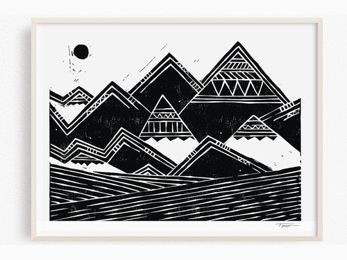 Geometric Mountains, Art Print