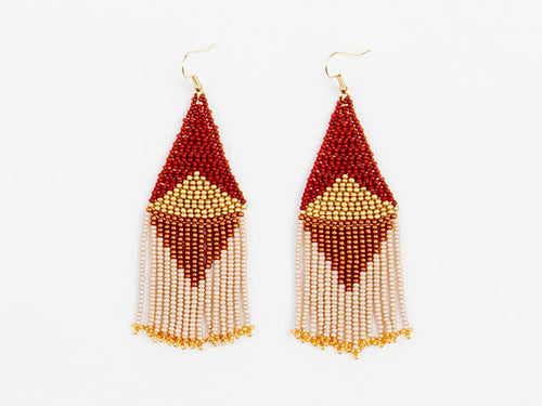 Bronze Graphic Fringe Beaded Earring
