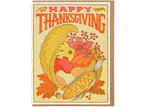 Happy Thanksgiving Cornucopia, Single Card