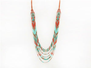 Mayan Loom Multi Strand Necklace, Turquoise