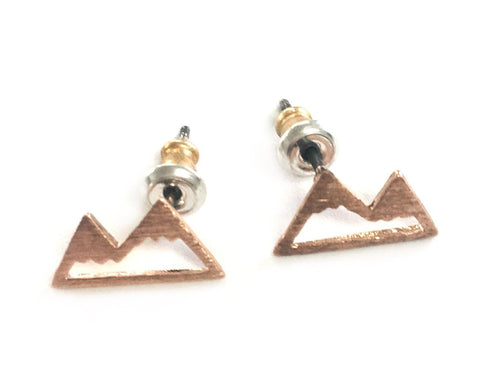 Mountain Studs Earrings, Gold