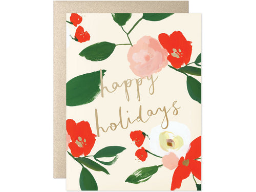 Happy Holidays Floral, Single Card