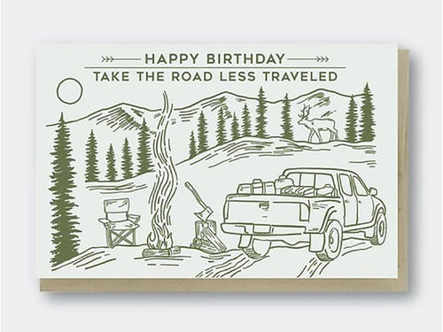 Happy Birthday Road Less Traveled, Single Card