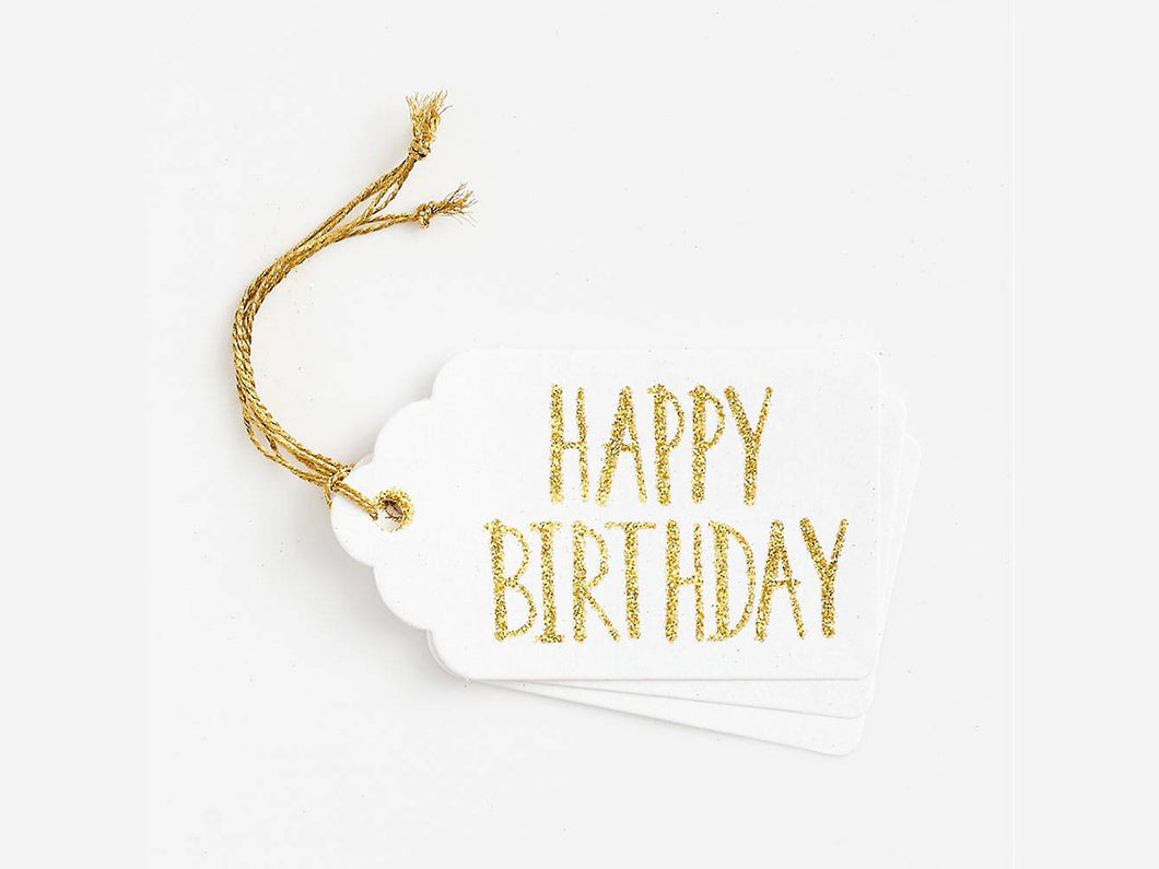 Happy Birthday Gold Glitter Gift Tags, Set of 3