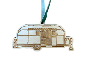 Silver Camper Ornament